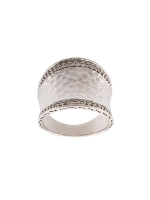 John Hardy Classic Chain Hammered Saddle Diamond Ring Continuity | Farfetch.com