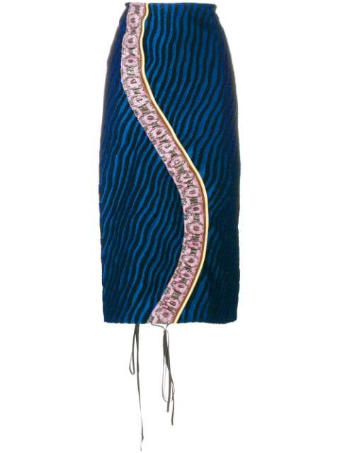 Marni Striped Panel Pencil Skirt Aw17 | Farfetch.com