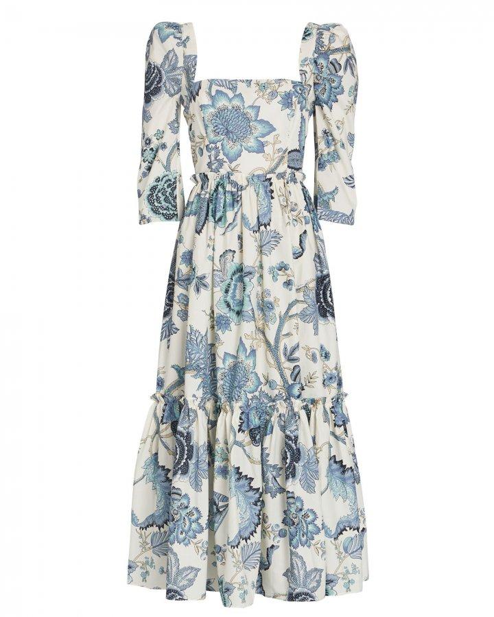 Jacobean Floral Cotton Midi Dress