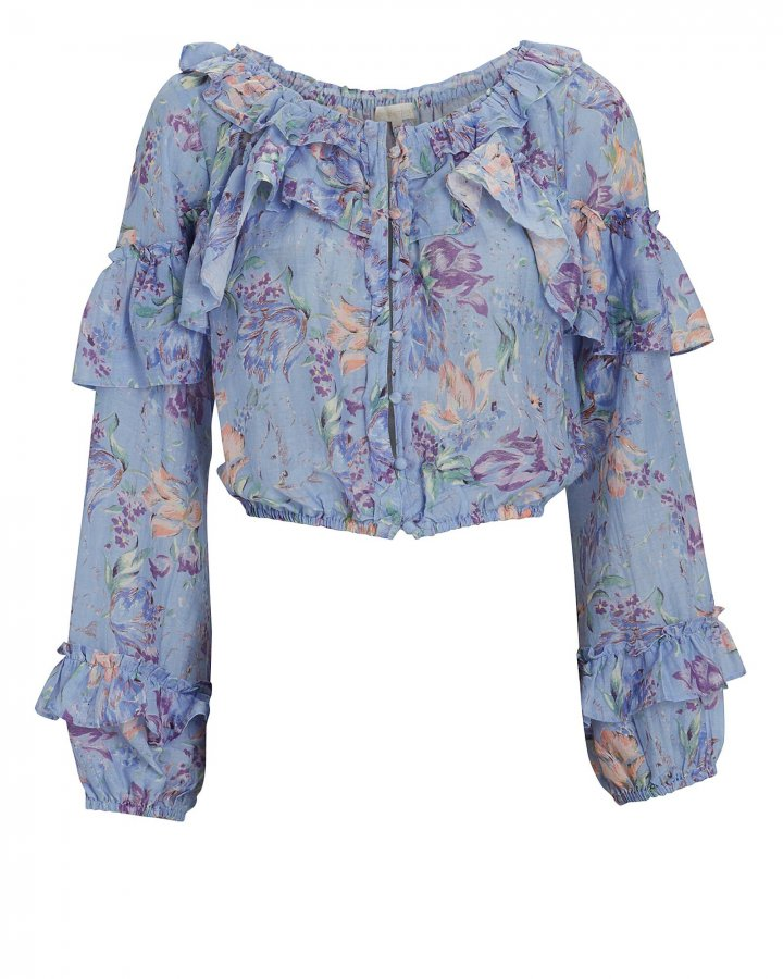 Ruffled Floral Silk-Cotton Blouse
