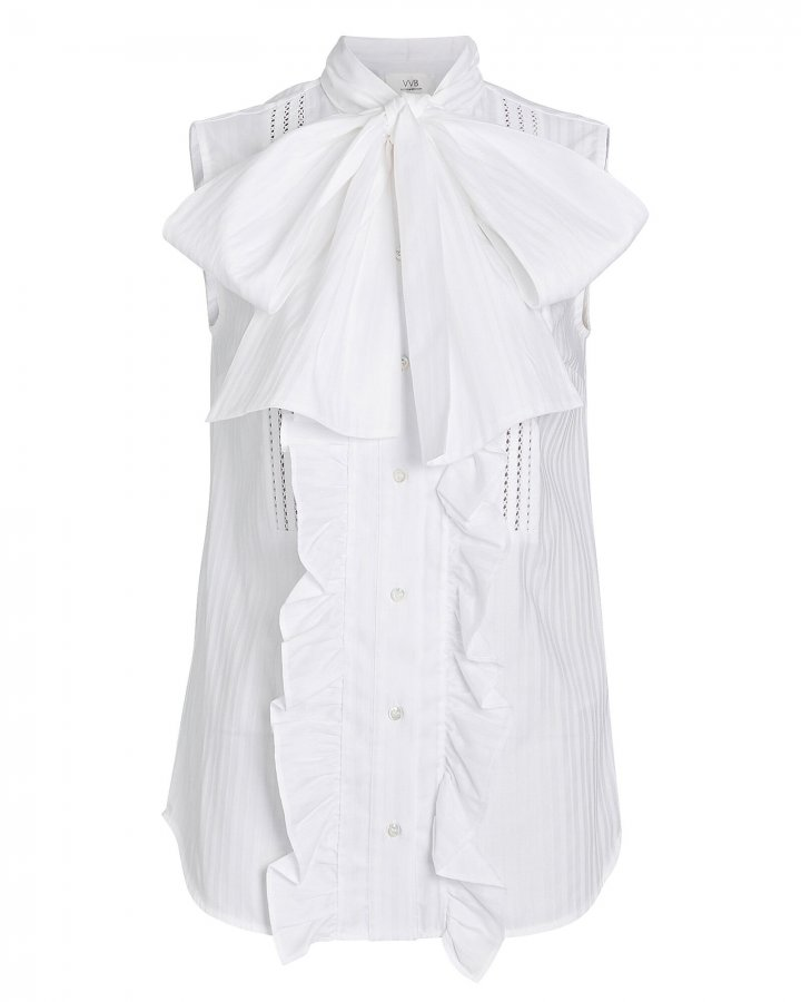 Ruffled Poplin Tie-Neck Top