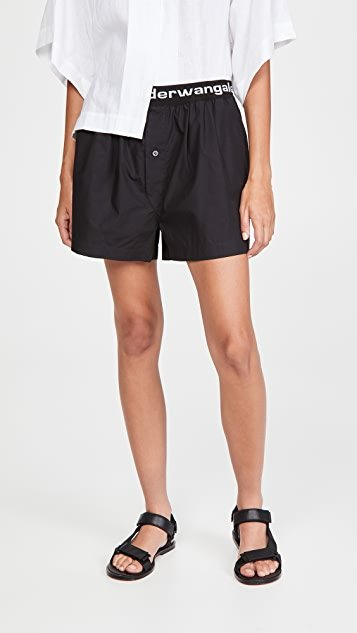 Pull-On Pleated Shorts with Logo Elastic