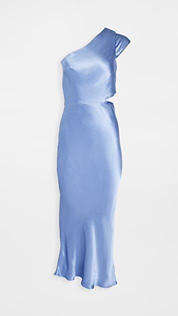 Delphine Asymmetric Midi Dress