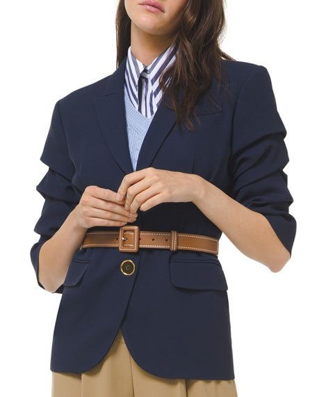 Crushed-Sleeve Fitted Blazer