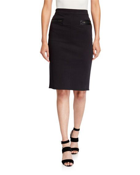 Slim Pencil Skirt with Zipper Detail