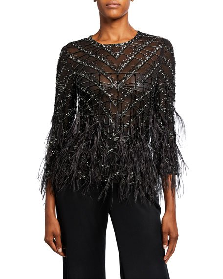 Chevron-Beaded Lace Top with Feather Trim