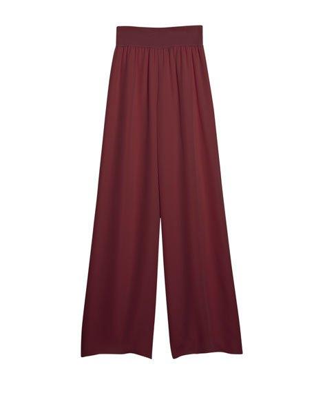 Silk Wide-Leg Pull-On Pants