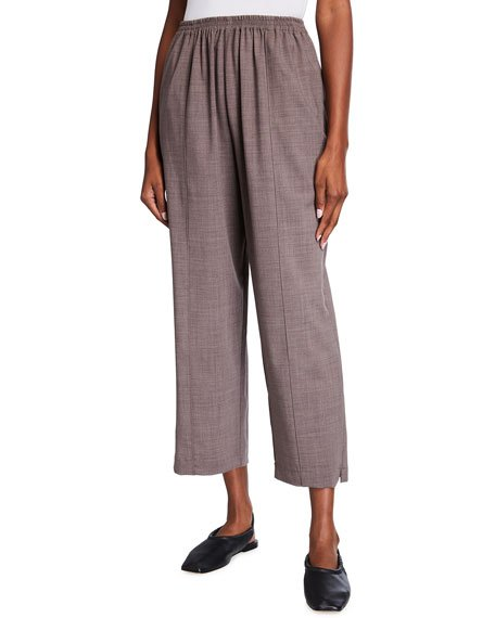 Wool-Silk Relaxed Ankle Pants