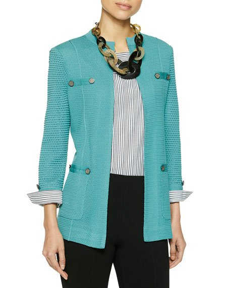 Plus Size Pocket Detail Knit Jacket