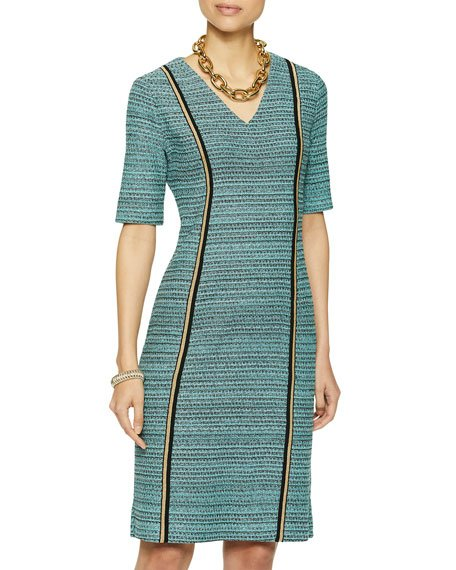V-Neck Light Tweed Dress