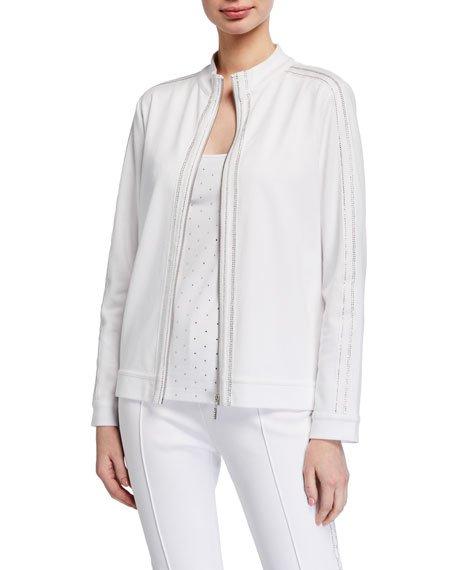 Petite Sparkle Zip-Front Jacket