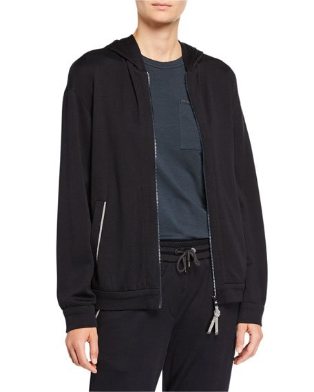 Cotton-Silk Felpa Hooded Jacket