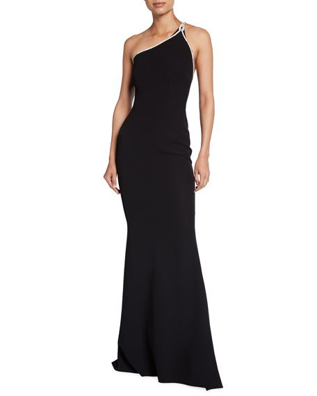 One-Shoulder Heavy Crepe & Crystal Embroidery Gown