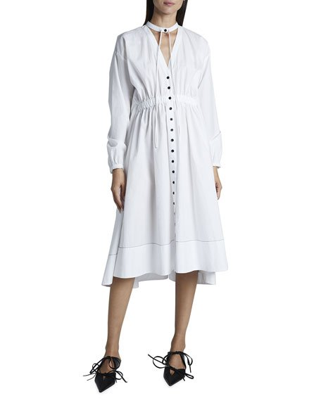 Cotton Shirting Collared Button-Down Dress