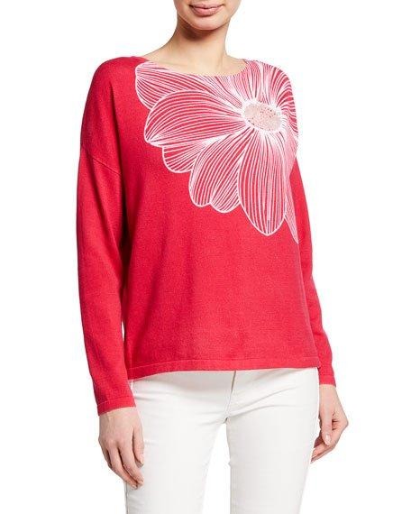 Plus Size Floral Intarsia Cotton Sweater