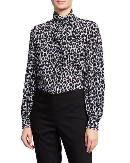 Leopard Print Tie Neck Blouse