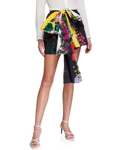 Floral Print Cotton Twill Tie-Waist Shorts