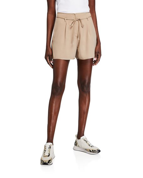 Self-Tie Belted Shorts