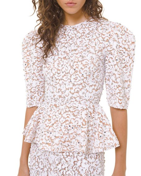 Embroidered Lace Peplum Top