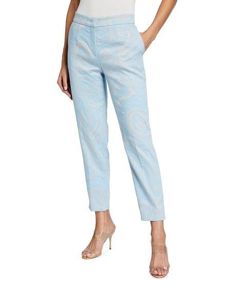 Paisley Brocade Slim-Leg Trousers