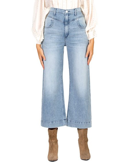 Emma Double-Yoke Wide-Leg Crop Jeans