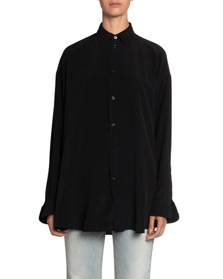 Logo-Graphic Silk-Crepe Button-Front Blouse
