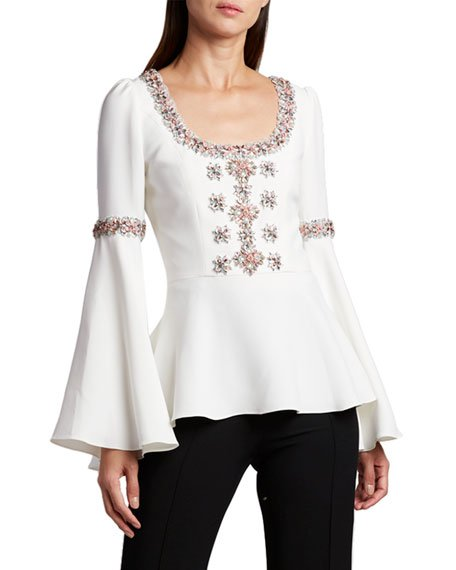 Scoop-Neck Flare-Sleeve Blouse