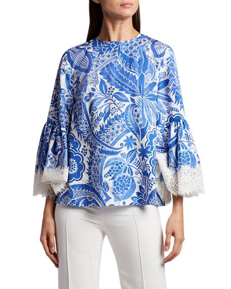 Flare-Sleeve Embroidered Blouse