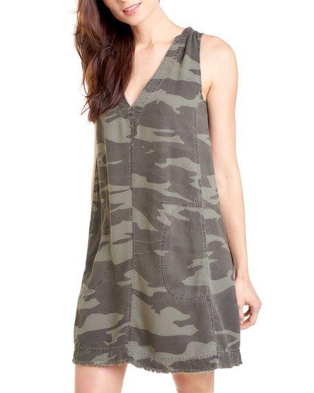 Gemma Sleeveless Camo-Print Dress