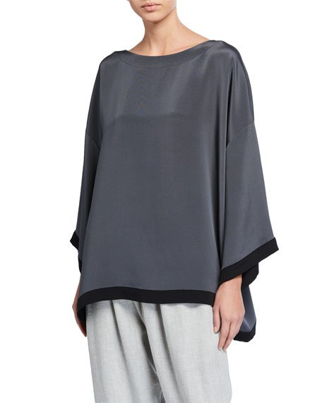 Silk Bateau-Neck 3/4-Sleeve Tunic