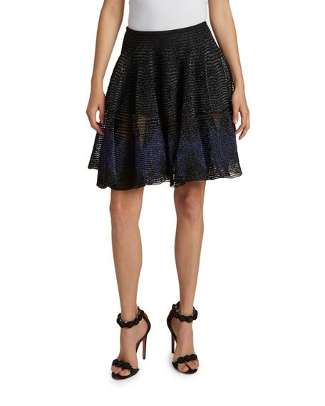 Pleated Mesh A-Line Skirt