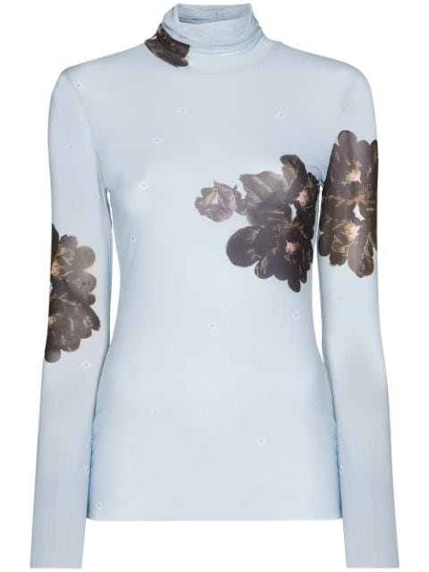 GANNI floral-print Mesh Top