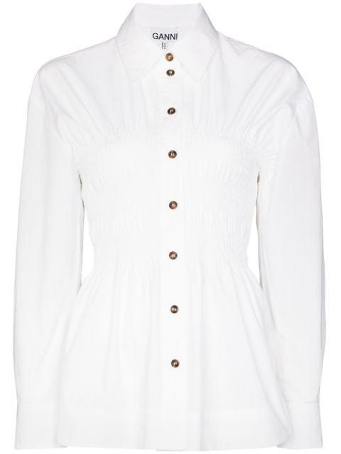GANNI ruched-waist Buttoned Shirt