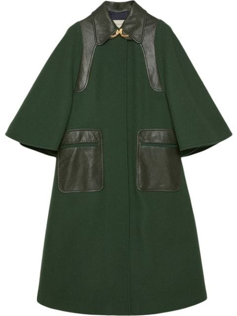 Gucci Leather Detailing Oversized Coat Aw19 | Farfetch.com