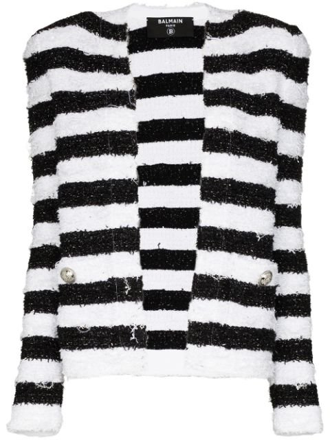Balmain Striped Tweed Jacket Ss20 | Farfetch.com