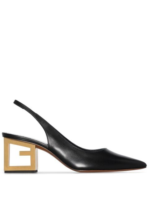 Givenchy Black Triangle Point Leather Slingback Pumps