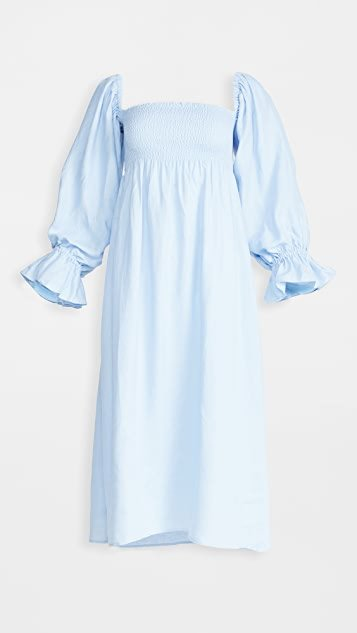 Atlanta Linen Dress in Azure Blue
