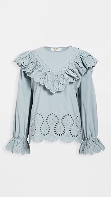 Marina Long Sleeve Ruffle Blouse