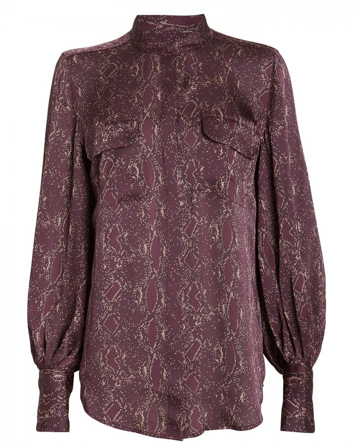 Helaine Python Print Collarless Shirt