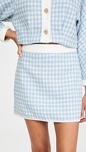 Blue Willow Tweed Miniskirt