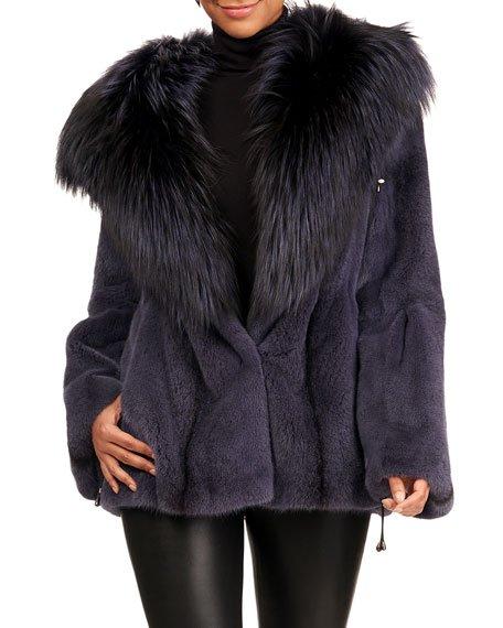 Cross Mink Fur Jacket W/ Silver Fox Hood Trim