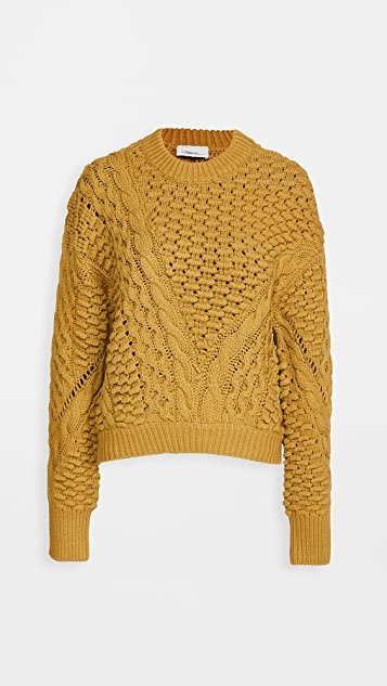 Long Sleeve Crew Neck Cable Pullover