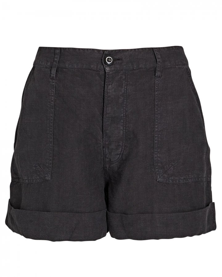 Le Beau Cuffed Linen Shorts