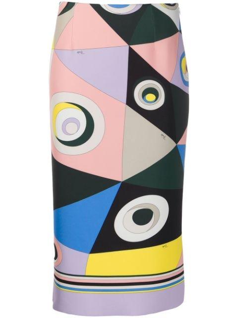 Emilio Pucci Abstract Print Pencil Skirt Aw20   Farfetch.Com