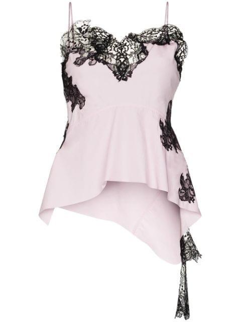 Marques\'Almeida Asymmetric Lace-Trim Camisole Aw20 | Farfetch.Com