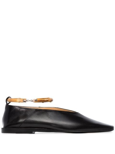 Jil Sander Bamboo-Trimmed Leather Ballerina Shoes Ss20 | Farfetch.Com