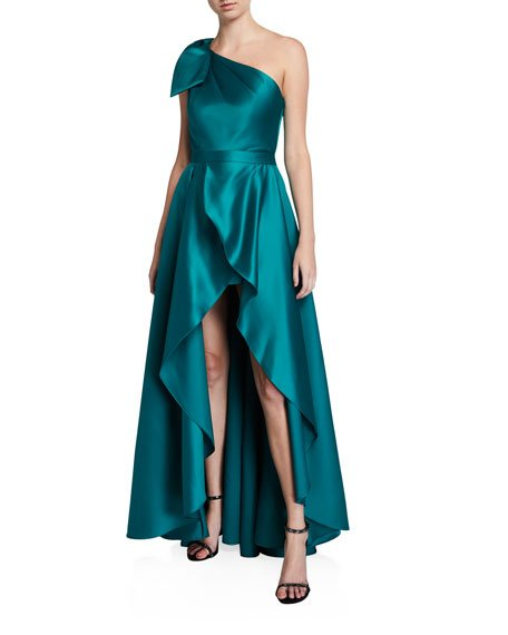 Tany Satin One-Shoulder Bow-Front Romper w/ Removable Overskirt