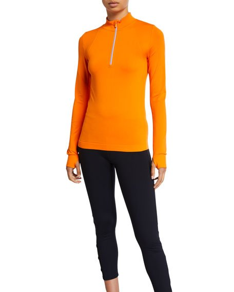 Seamless Quarter-Zip Long-Sleeve Pullover Top