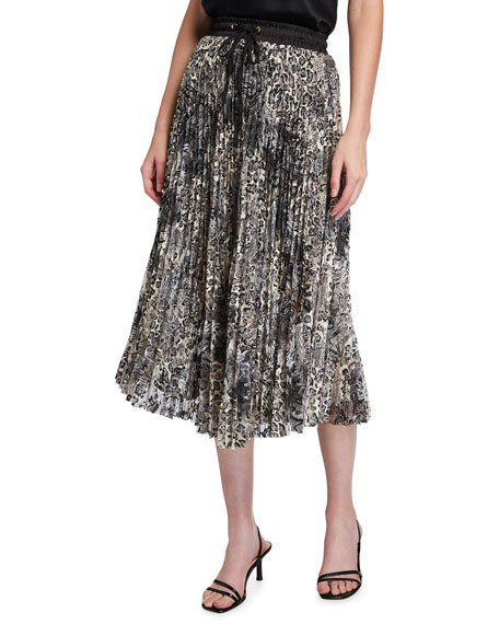 Animal-Print Lace Midi Skirt