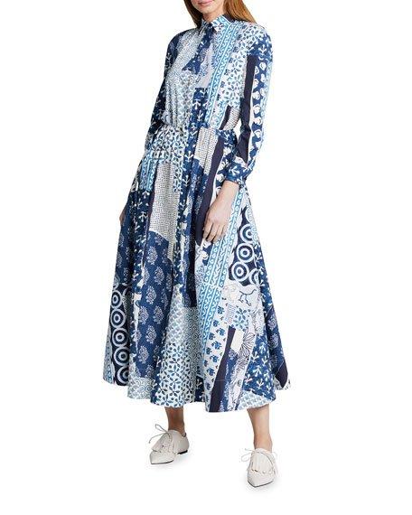 Patchwork Cotton Poplin Bracelet Sleeve Collared Dress